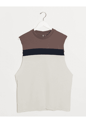 ASOS DESIGN relaxed sleeveless t-shirt with dropped armhole and colour block panels-Grey