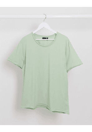 ASOS DESIGN relaxed t-shirt with scoop raw edge in green