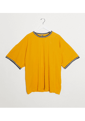 ASOS DESIGN Plus oversized pique t-shirt with tipping in yellow