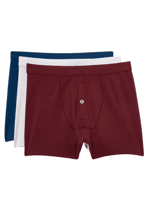 3 pack of Boxer Briefs in True Blue, Port and White lyocell blend