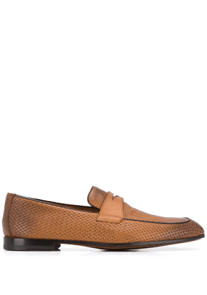 Doucal's woven penny loafers - Brown