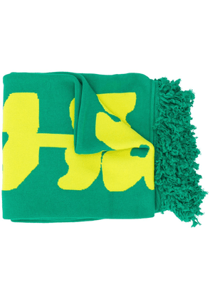 Off-White Disrupted logo fringed scarf - Green