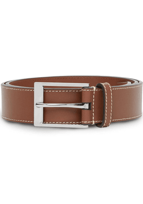 Burberry topstitched square buckle belt - Brown