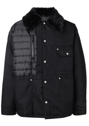 Maison Margiela furry collared coat - Black