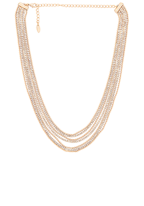 Ettika Layered Crystal Necklace in Metallic Gold.