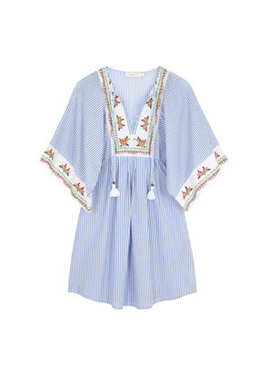 Tory Burch Striped Embroidered Cotton Tunic Dress