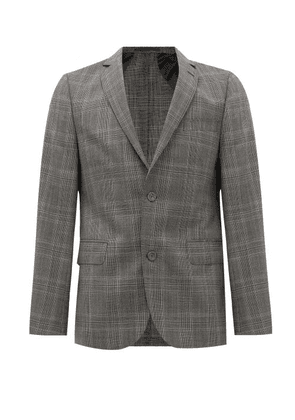 Officine Générale - Single-breasted Checked Wool Suit Jacket - Mens - Grey Multi
