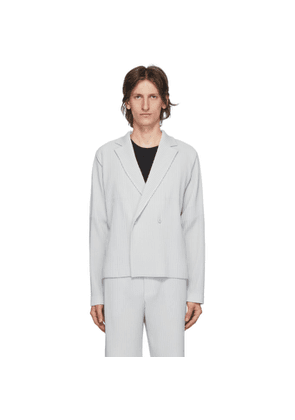 Homme Plisse Issey Miyake Grey Tailored Pleats 2 Double-Breasted Blazer