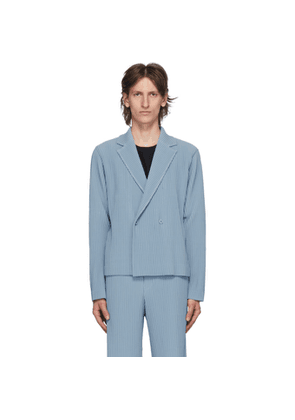 Homme Plisse Issey Miyake Blue Tailored Pleats 2 Double-Breasted Blazer