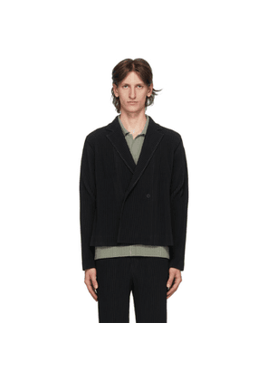 Homme Plisse Issey Miyake Black Tailored Pleats 2 Double-Breasted Blazer