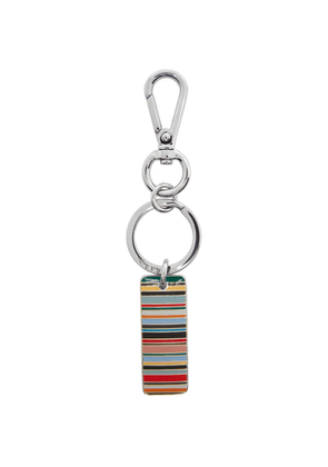 Paul Smith Silver and Multicolor Stripe Tag Keychain