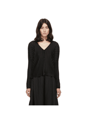 Pleats Please Issey Miyake Black Rib Pleats Cardigan