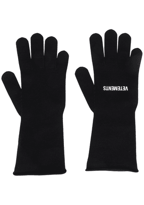 Vetements logo knitted gloves - Black
