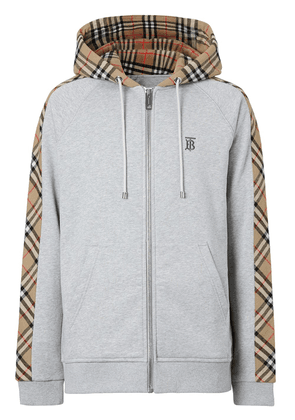 Burberry Vintage Check panel zipped hoodie - Grey