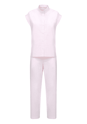 Cotton Seersucker Long Pajama Set