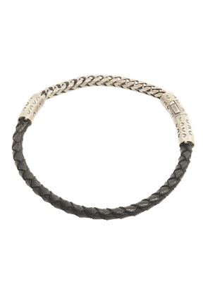 Oxidised Silver Fine Chain and Woven Black Leather Lash Bracelet