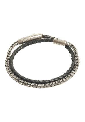 Oxidised Silver and Woven Black Leather Double-Wrap Lash Bracelet