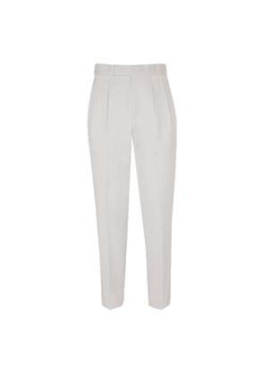 Double pleated White Cotton Trousers