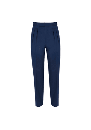 Double pleated Navy Trousers