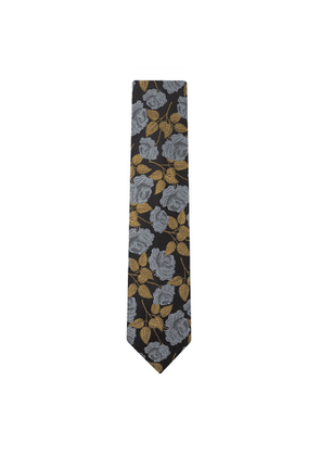 DUCHAMP LONDON Large Rose Floral Tie Black