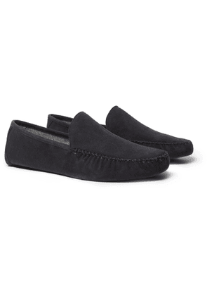 Loro Piana - Maurice Cashmere-Lined Suede Slippers - Men - Gray
