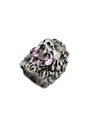 Gucci crystal-embellished Lion-head ring - SILVER
