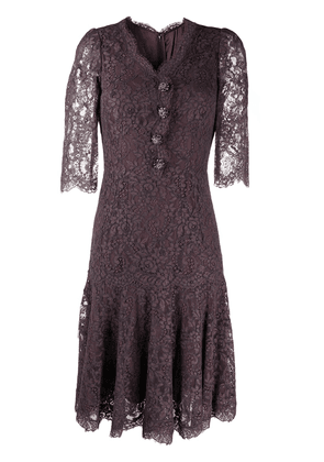 Dolce & Gabbana lace mid-length dress - Brown