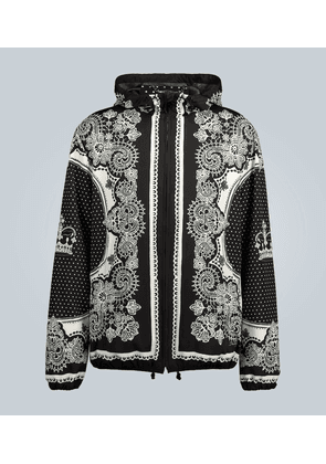 Nylon hooded jacket with bandana print