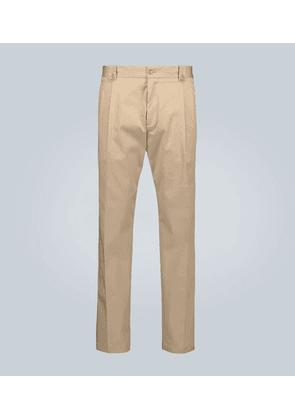 Double-pleated stretch-cotton pants