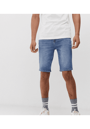 ASOS DESIGN Tall denim shorts in skinny mid wash blue