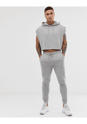 ASOS DESIGN sleeveless crop oversized tracksuit in grey marl