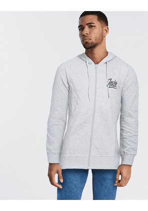 Jack & Jones essentials zip through logo hoodie-Grey