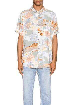 ROLLA'S Bon Bleach Island Shirt in Ivory,Green,Orange,Yellow. Size S.