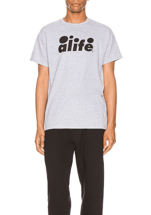 ALIFE Bubble Logo Tee in Grey. Size L,S.