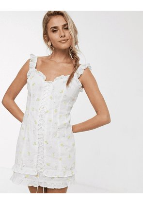 For Love & Lemons Azalea lace up mini dress in white floral