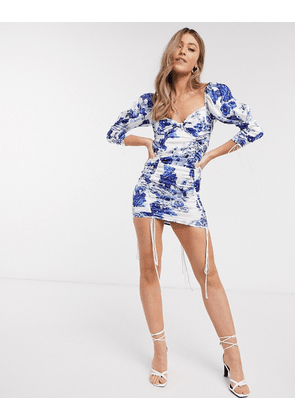 For Love & Lemons Hyacinth ruched floral bodycon mini dress in navy floral-Blue