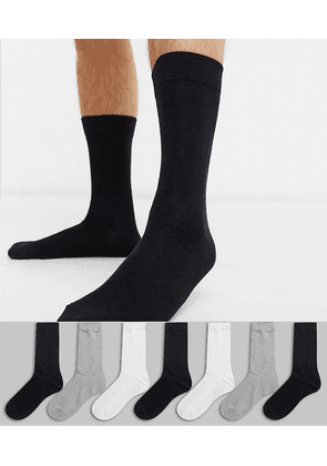 ASOS DESIGN 7 pack ankle sock in monochrome save-White