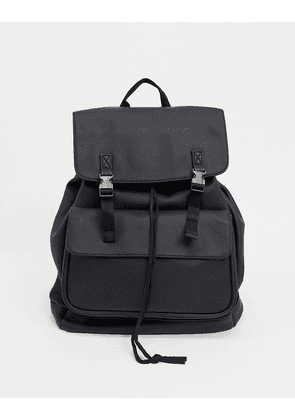 ASOS DESIGN backpack in black faux leather with double straps and silver clasp detail