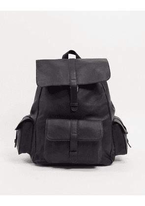 ASOS DESIGN leather backpack in black with multi pockets
