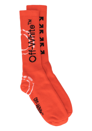 Off-White Arrows logo socks - ORANGE