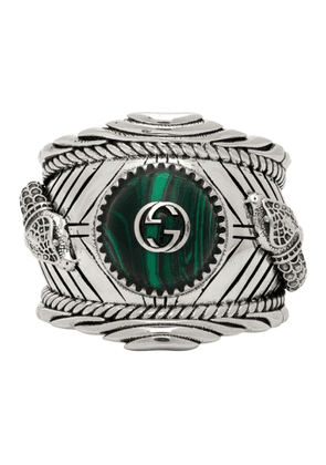 Gucci Silver and Green Gucci Garden Ring
