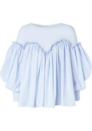Burberry puff sleeve striped blouse - Blue