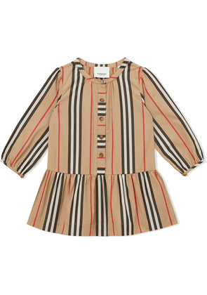 Burberry Kids Icon Stripe gathered poplin dress - NEUTRALS