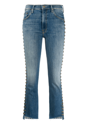 Mother stud-embellished cropped jeans - Blue