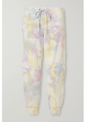LoveShackFancy - Etty Cropped Tie-dyed Cotton-blend Jersey Track Pants - White