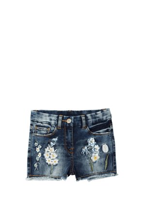 Embroidered Stretch Denim Shorts