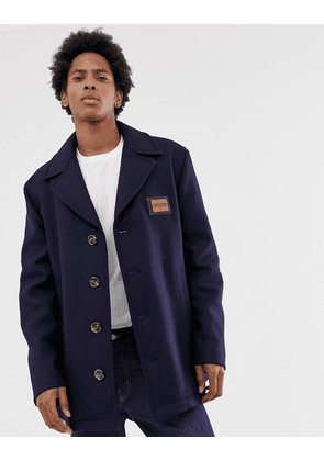Love Moschino overcoat with placket-Navy