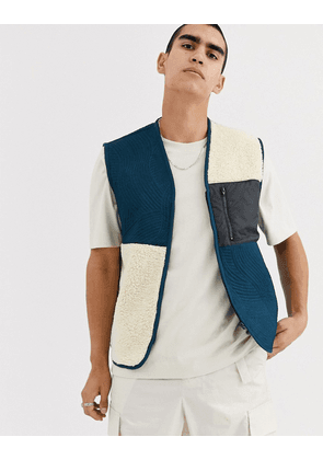 ASOS WHITE gilet in borg & quilted pattern-Blue