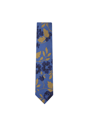DUCHAMP LONDON Carnation Floral Tie Blue