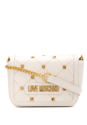 Love Moschino quilted stud crossbody bag - NEUTRALS